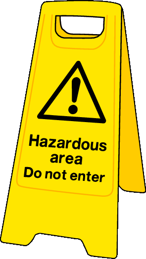 Double sided plastic floor stand Hazardous area do not enter