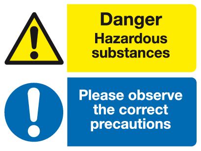 Danger Hazardous substances Please observe the correct precautions sign