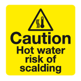 Caution Hot water risk of scalding sign - MJN Safety Signs Ltd