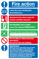 100 Hotel fire action signs