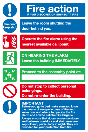 Hotel / Guest House fire action sign