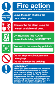 hotel fire action notice