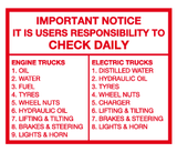 Importance Notice It is users responsibility to check daily checklist