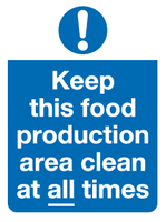Food production area clean sign