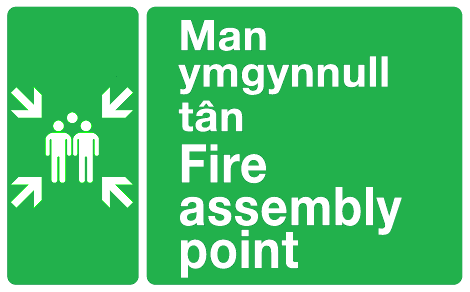 Man ymgynnull tan Fire assembly point Welsh/English sign