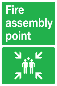 metal fire assembly point sign