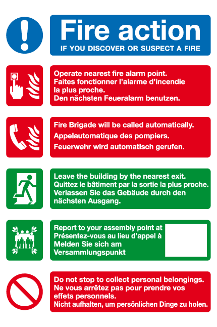 Multi-lingual Fire action sign