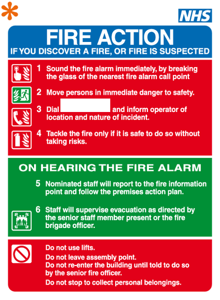 Nhs Fire Action Sign Mjn Safety Signs Ltd