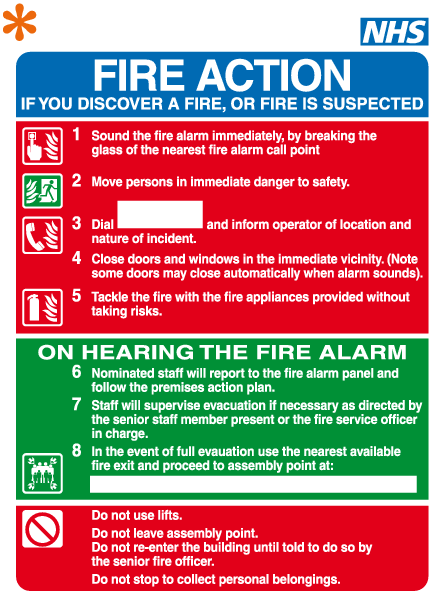 NHS fire action sign