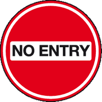 No entry floor sign