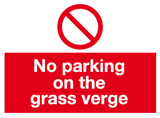 No parking on the grass verge sign