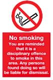 no smoking disciplinary offence sign
