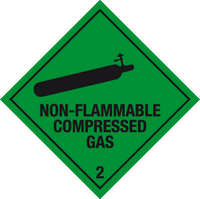 Non-flammable compressed gas label