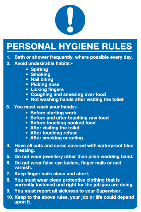 Hygiene signs | Catering Signs | Health and safety signs supplier ...