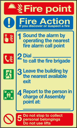 Fire alarm fire point action notice