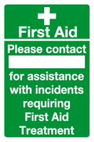 first aid contact sign