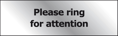 Please ring for attention Prestige sign