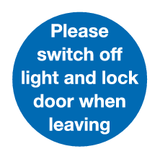 Please switch off light and lock door when leaving sign