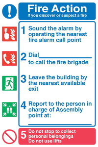 Fire action 1-5 sign
