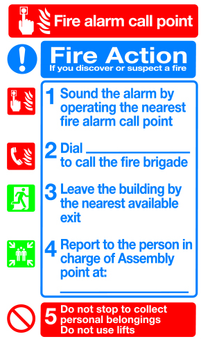 Fire action fire alarm call point