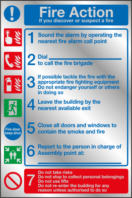 Fire action prestige sign 1-7