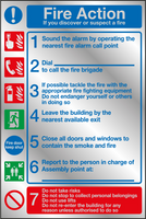 Fire action prestige safety sign 1-7 notice