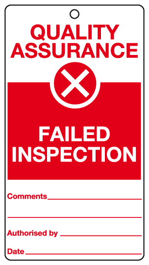 Failed inspection tag