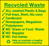 Recycled waste sign