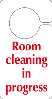 text Room cleaning in progress Hook on the door sign