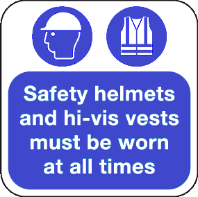 safety helmet floor sign