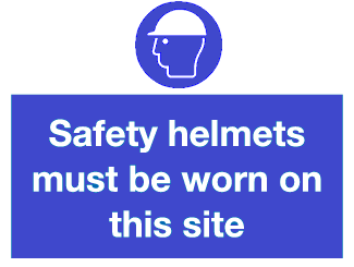 Safety helmets must be worn on site sign
