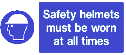 safety helmets must be worn at all times sign