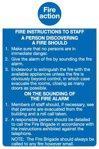 Fire Action staff sign