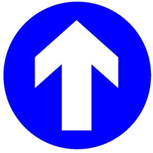 Blue arrow social distancing one way sign