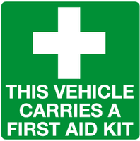 This vehicle carries a first aid kit sign