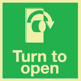 Turn to open right Photoluminescent sign