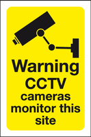Warning CCTV cameras monitor this site sign