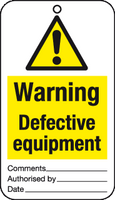 Warning defective equipment tag