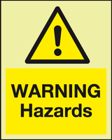 Warning Hazards Photoluminescent sign