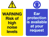 warning risk of high noises ear protection available