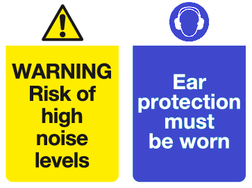 Warning Risk of high noise levels Ear protection must be worn sign