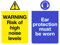 risk of high noise levels ear protection must be worn