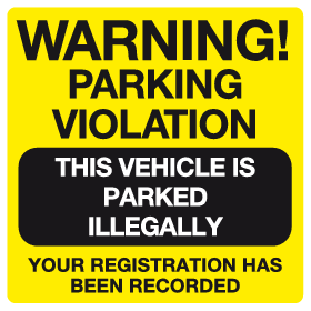 Warning Parking Violation sign