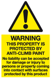 Warning this property is protected by anti-climb paint warning sign