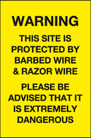 protected by barbed wire and razor wire
