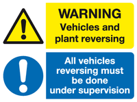 Warning Vehicles and plant reversing All vehicles reversing must be done under supervision sign