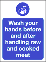 Wash your hands before and after handling raw and cooked meat sign