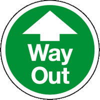Way Out ahead floor sign