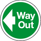 Way Out left floor sign