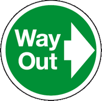 Way Out right floor sign